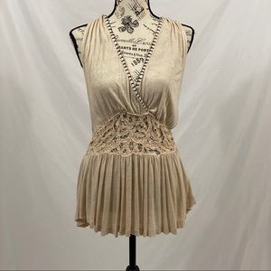 Free People Cream Blouse With Lace Size Small